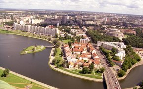 Byelorussia, city, Minsk, panorama, river, home