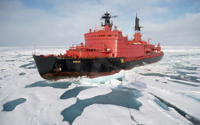 ship, icebreaker, Yamal, Russia, ice, ocean