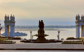 Russia, città, Volgograd, fiume, Volga, Fantan, L'amicizia tra le nazioni, 1957, statua, stradale, colonna, lanterna, crepuscolo