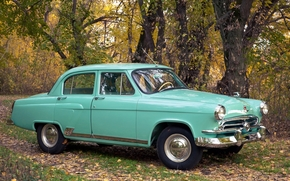 car, Car, machine, ussr, Gas-21, gas, 21, M-21, Volga, Light Green, autumn