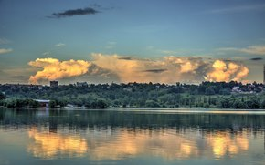 Russia, città, Kaluga, Yachenskoe, serbatoio, cielo, nuvola