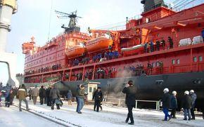 statek, lodołamacz, Jamał, Rosja, ludzie, śnieg