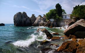 natura, Russia, Marino, costa, mare, onde, pietre, Crimea, bay, Cechov, Yalta