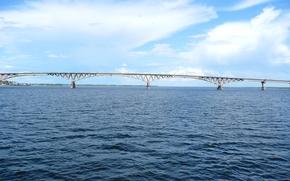 Россия, город, Саратов, река, Волга, мост, небо, облака