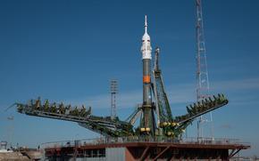 Союз, TMA-16M, космодром, Байконур, Казахстан, Россия, космический, корабль, ракета, небо