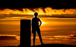 girl, silhouette, sunset, mood