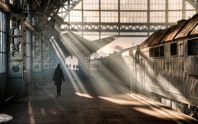 petersburg, Leningrad, esta??o de trem, Petrogad, Vitebsk, Peter, R?ssia, manh?, homem, mulher, pessoas, luz, trem, carro