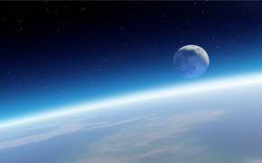 Земля, Луна, атмосфера, звёзды, горизонт