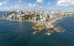 Сальвадор, Фарол да-Барра, Баия, маяк, Бразилия, Барра, пляж, море