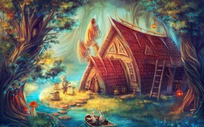 fairy house, small river, boat, Bruin, Hares, Fantasy