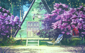Endless Summer, wallpaper, cabin, bush, lilac, bike, Pioneer, camp, ussr