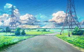 Endless Summer, papel de parede, estrada, vysokovoltka, verão, campo, obloka, céu, URSS