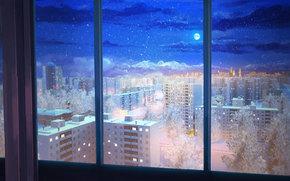 Endless Summer, papel de parede, apartamento, noite, lua, Estrela, janela, céu, URSS, Rússia