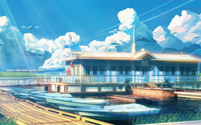 Endless Summer, wallpaper, wharf, boat, obloka, ussr, Russia