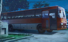 Endless Summer, papel de parede, noite, estacionamento, ônibus, Ikarus, 255, URSS, Rússia