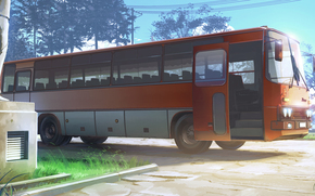 Endless Summer, papel de parede, crepúsculo, estacionamento, ônibus, Ikarus, 255, URSS, Rússia