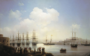 Russia, Crimea, Sevastopol, Ivan, K., Aivazovsky, Russian, squadron, in, Sevastopol, raid, 1846, year, canvas, oil, fleet, people, ship, boat, sea, sky