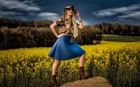 girl, model, hat, SKIRT, glasses, field, rape, stone