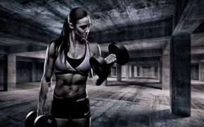 girl, athlete, Muscled, dumbbells