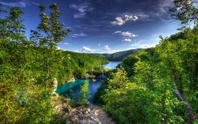 Nationalpark Plitvicer Seen, croazia, lago, alberi, cascata, paesaggio