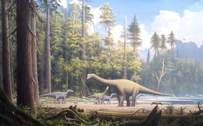 animals, dinosaur, dinosaurs, herbivorous, Monsters, forest, trees, sky, obloka, water, sand, grass, picture, painting, Art, planet, land, life, history