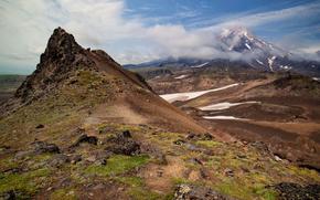 горы, камни, вулкан, порода, Россия, Камчатка, небо, облока