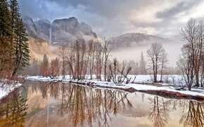 Yosemite Valley, California, Mountains, trees, winter, river, landscape