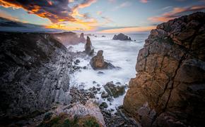 море, скалы, Costa Quebrada, Costa de Cantabria, Spain