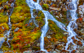rocky mountain, moss, waterfalls, streams, nature