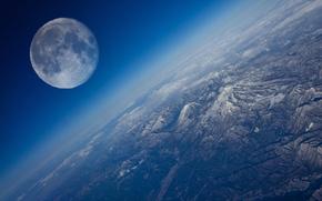 Луна, спутник, Земля, небо, планета, облока, горизонт, горы, космос, Мир
