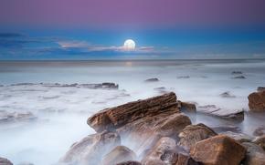 выдержка, ночь, камни, вечер, небо, туман, Луна, горизонт, море, облока, пейзаж