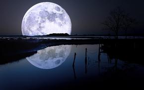 sky, night, landscape, moon, reflection, water, nature, photo