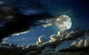 облака, ночь, звезды, Луна
