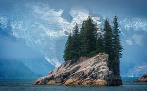 Montagne, Rocce, isola rocciosa, alberi, paesaggio
