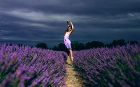 girl, dance, jump, field, lavender, Flowers, mood