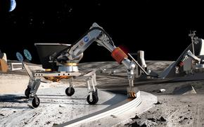 luna, spazio, progetto, NASA, robot, terra, costruzione, base, stazione, pietre, terra