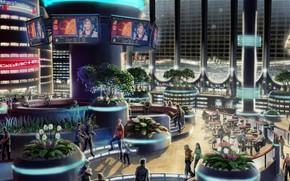 moon, Satellite, base, station, ROOM, interior, people, future, plants, city