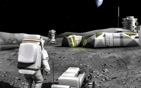 luna, Satellite, base, progetto, stazione, terra, spazio, uomo, terra, SUPERFICIE, luna, Stella, apparato, Fuoristrada