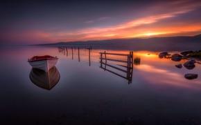 Lake Tyrifjorden, Lake Tyri, Buskerud, Norway, озеро Тюрифьорд, Бускеруд, Норвегия, озеро, закат, лодка, отражение