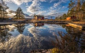 Рингерике, Норвегия, Norway, озеро, Ringerike, отражение, дома, облака, деревья