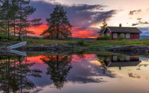 Рингерике, Норвегия, Norway, озеро, Ringerike, закат, дом, отражение, лодка, деревья