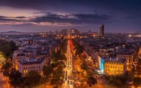 巴黎, 城市, 夜, 灯火, 城市的夜生活