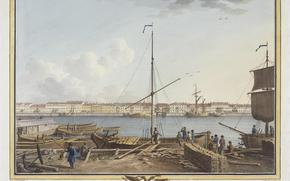 Russia, city, petersburg, Peter, river, Neva, picture, Paterssen, Benjamin, 1799, Hermitage, ships, people, home, coat of arms