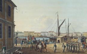 Russia, city, petersburg, Peter, river, Neva, picture, Paterssen, Benjamin, 1799, Hermitage, ships, coach, horse, soldiers, people, home, Dog, lantern