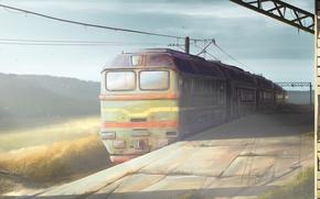 suite, IRON, route, locomotive, abandonné, gare, matinée