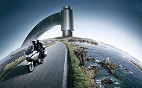 motorcycle, road, globe, water, stones, photomontage