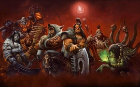 World Of Warcraft, warlords_of_draenor, wojna, broń, Potwory, czerwony