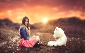 girl, Teddy Bear, bear, toy, sunset, mood, bokeh