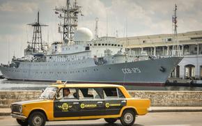 statek, Marynarka wojenna, Rosja, CER-175, Victor Leonow, port, Kuba, Lada, Wazony, LADA