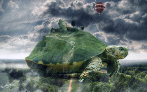 turtle, forest, rain, air, ball, home, cow, ladder, tree, grass, obloka, sky, fantasy, world
